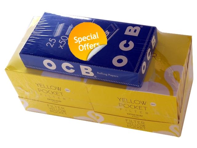 3324 - Προσφορά χαρτάκια στριφτού OCB ΜΠΛΕ και 2 κουτιά SWAN Pocket yellow Extra Slim