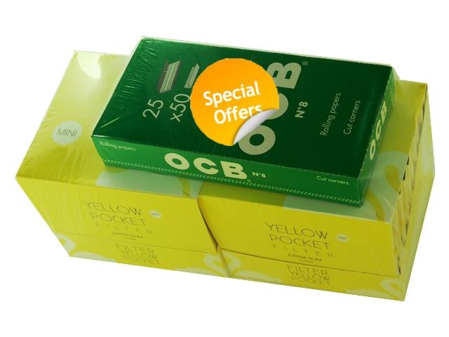 3325 - Προσφορά χαρτάκια στριφτού OCB ΠΡΑΣΙΝΑ και 2 κουτιά SWAN Pocket yellow Extra Slim
