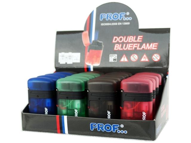3468 - Κουτί με 20 αναπτήρες με διπλό φλόγιστρο PROF DBL BLUE FLAME TRANSLUCENT COLORS ημιδιάφανος (τιμή 1.65 ο ένας)