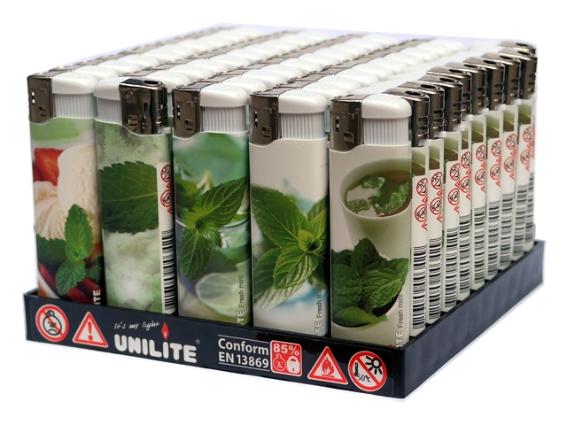 3533 - Κουτί με 50 αρωματικούς αναπτήρες UNILITE FRESH MINT 26312 (με άρωμα μέντας)