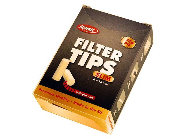 3741 - Φιλτράκια για στριφτό Atomic Filter Tips Slim 6mm 150 με κόλλα