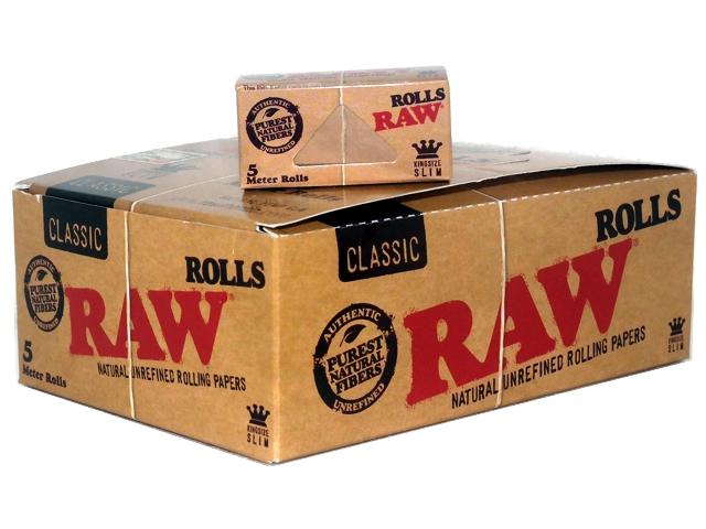 Κουτί με 24 ρολά για στριφτό RAW Classic KingSize Slim ακατέργαστο 4.2cm x 5m