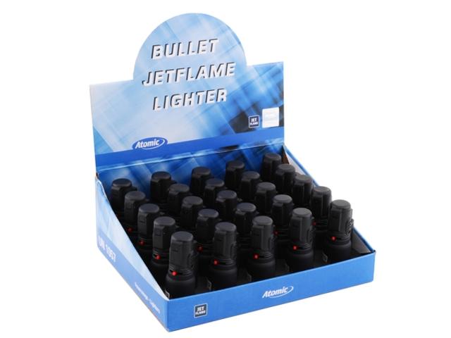 Κουτί με 25 αντιανεμικούς αναπτήρες ATOMIC Bullet Jet Black Rubber 2515500