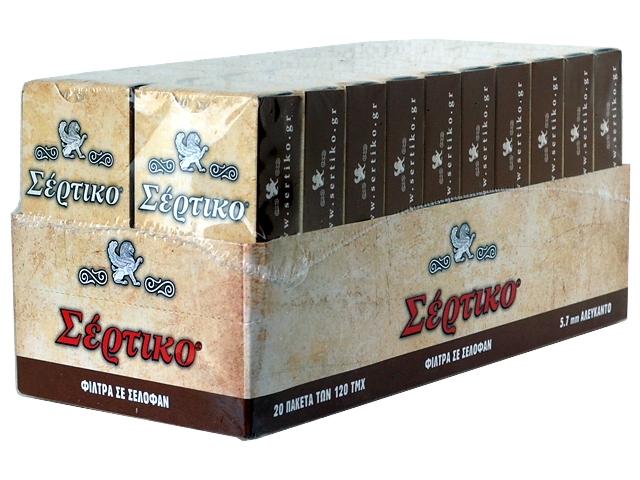 Κουτί με 20 φιλτράκια στριφτού ΣΕΡΤΙΚΟ 120 5.7mm αλεύκαντα φίλτρα σε σελοφάν