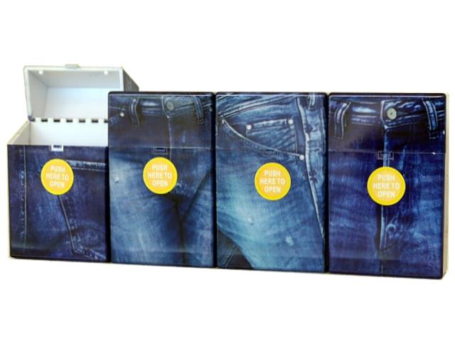 4219 - Πλαστική θήκη CLIC BOXX Blue Jean για πακέτο 20 τσιγάρων 380210 (ανοίγει αυτόματα)