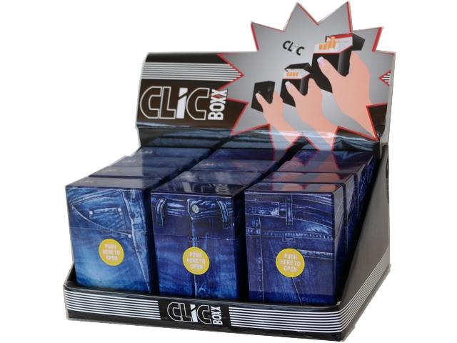 Κουτί με 12 πλαστικές θήκες CLIC BOXX Blue Jean για πακέτο 20 τσιγάρων 380210 (ανοίγει αυτόματα)