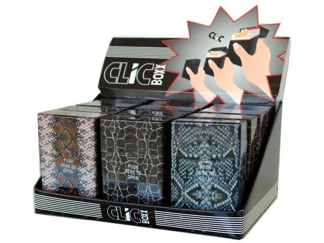 4290 - Κουτί με 12 πλαστικές θήκες CLIC BOXX SNAKE για πακέτο 20 τσιγάρων 380340 (ανοίγει αυτόματα)