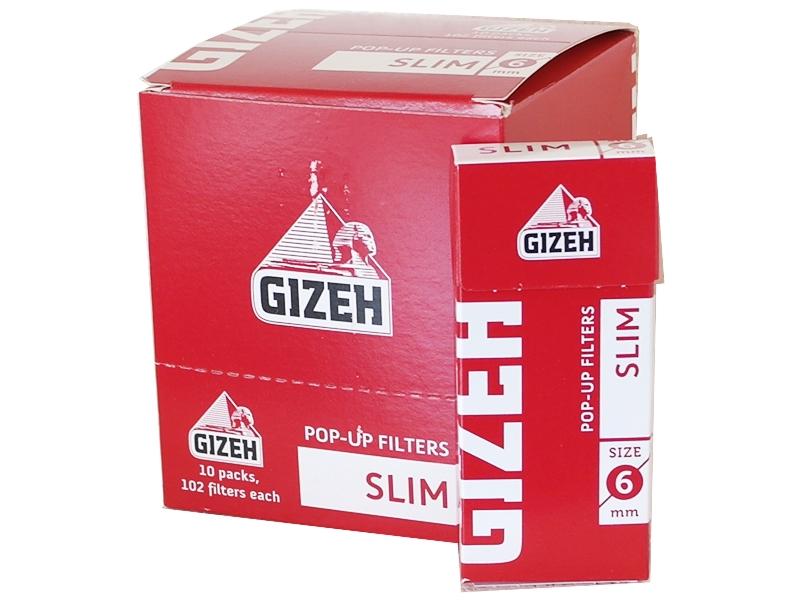 Κουτί με 10 Φιλτράκια στριφτού Slim Pop Up Filters Slim 6mm GIF018