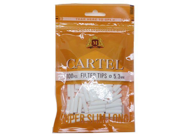 Φιλτράκια Cartel Super Slim Long 5.3mm με 100 φίλτρα το σακουλάκι και μακρύ φίλτρο 22mm
