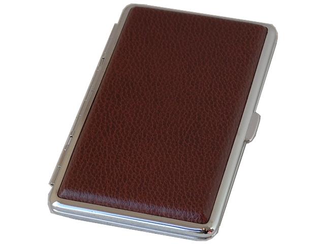 Ταμπακιέρα Bronica για μακρυά εκατοστάρια τσιγάρα & Slim τσιγάρα από δέρμα 308-L5 (καφέ)