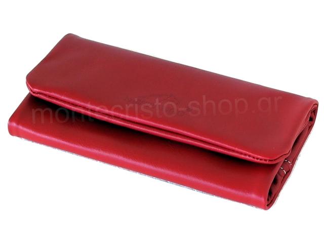 4675 - Δερμάτινη καπνοθήκη MESTANGO 2002-8 κόκκινη μεγάλη για σακουλάκι καπνού
