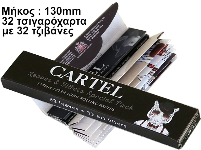 Cartel 130mm + Tips με 32 τσιγαρόχαρτα και 32 τζιβάνες Extra Long King Size Slim 14gsm