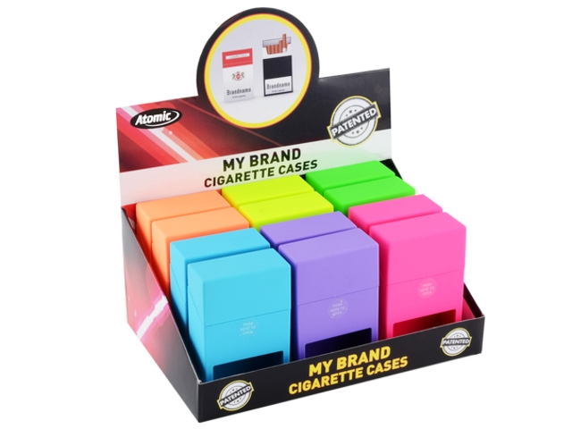 4692 - Κουτί με 12 θήκες ATOMIC Jump-Open Box Neon I για πακέτο με 20 τσιγάρα (με κενό για να φαίνεται η μάρκα