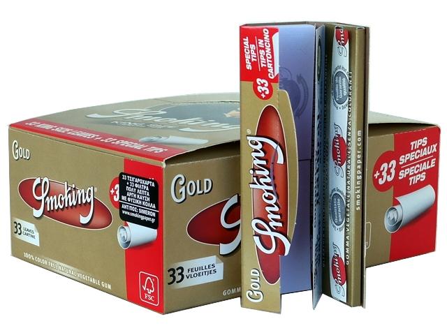 4713 - Κουτί με 24 χαρτάκια Smoking GOLD king size + Filter Tips και τζιβάνες