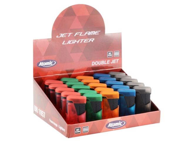 Κουτί με 25 αναπτήρες αντιανεμικούς ATOMIC Double Jet Rubber Frosty (με δύο φλόγιστρα) art 2514601 ημιδιάφανοι