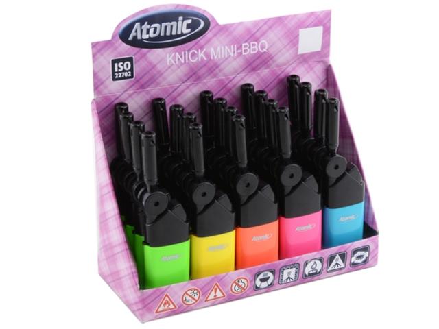 4956 - Κουτί με 20 αναπτήρες Atomic Knick Mini BBQ Neon colors 3692502 (με κινούμενο στόμιο) 12.5cm ματ