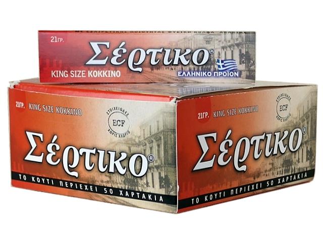 5071 - Κουτί με 50 χαρτάκια στριφτού ΣΕΡΤΙΚΟ King Size ΚΟΚΚΙΝΟ 21γρ (ταχύκαυστο)