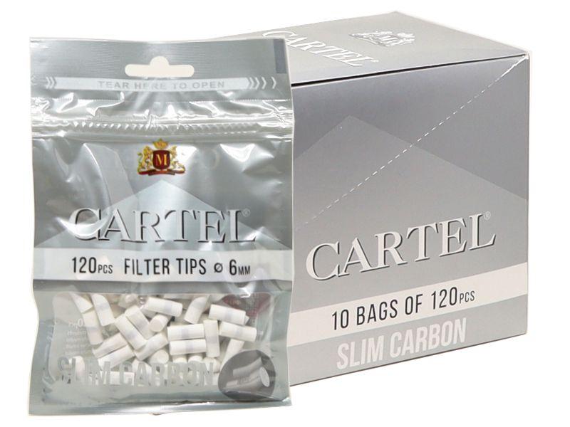 Κουτί με 10 φιλτράκια Cartel CARBON Slim 6mm ενεργού άνθρακα με 120 φίλτρα
