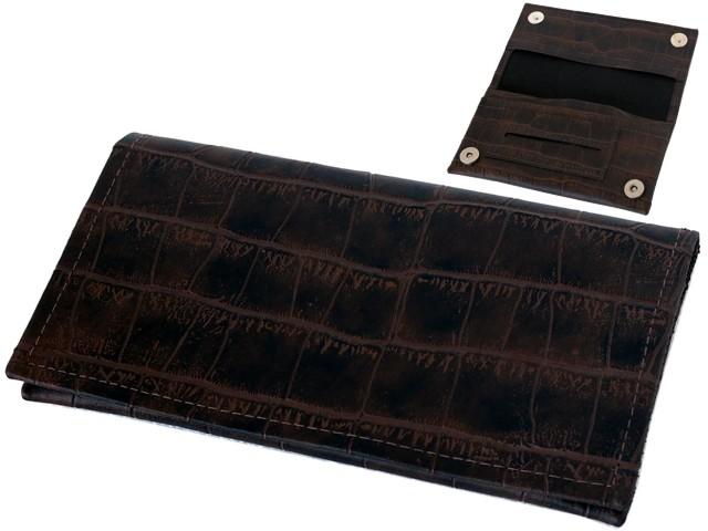 6505 - Καπνοθήκη SMOKA CARTO BROWN ΚΡΟΚΟ 701 για καπνό χαρτάκια φιλτράκα και αναπτήρα