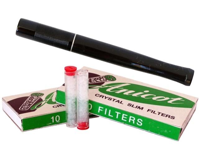6814 - Μακρυά πίπα τσιγάρου ANICOT 729 8mm BLACK για κανονικό τσιγάρο