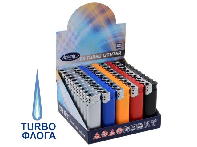 Κουτί με 50 αναπτήρες αντιανεμικούς Atomic F2 Turbo HC Assorted Turbo 3770000
