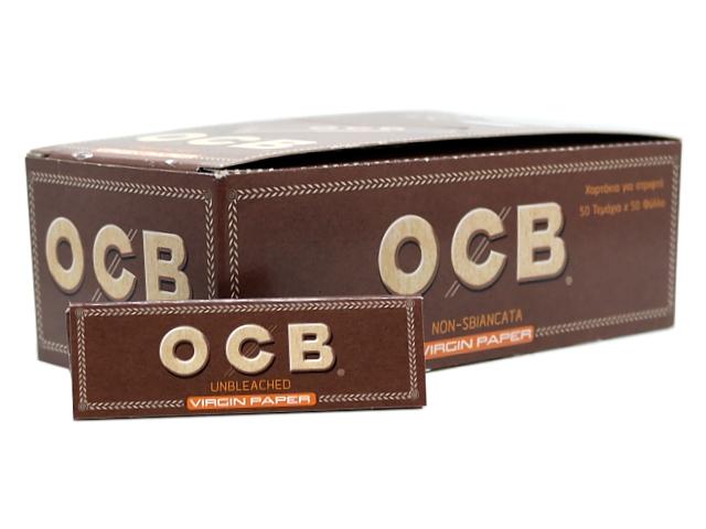 Χαρτάκια στριφτού OCB VIRGIN UNBLEACHED (ακατέργαστο) κουτί των 50 τεμαχίων
