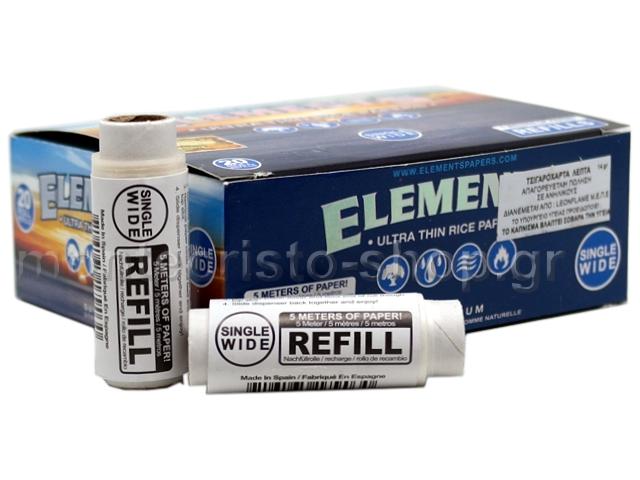Κουτί με 20 ΑΝΤΑΛΛΑΚΤΙΚΑ ΡΟΛΑ ELEMENTS REFIL ULTRA THIN SINGLE WIDE RICE PAPERS (40mm x 5 μέτρα)