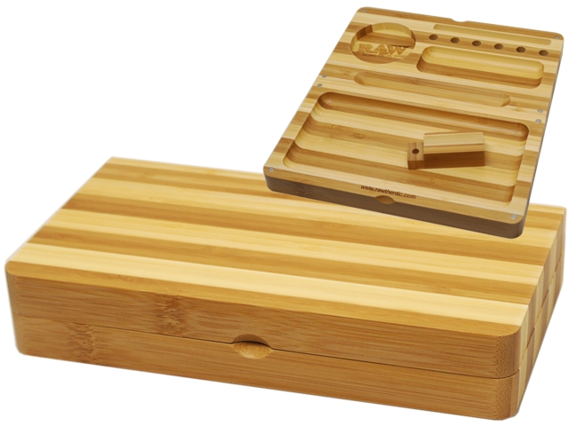 7254 - RAW BACKFLIP ROLLING TRAY STRIPED BAMBOO LIMITED EDITION