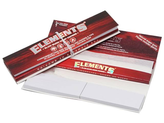 7261 - Χαρτάκια στριφτού ELEMENTS CONNOISSEUR KING SIZE + TIPS SLOW BURN HEMP PAPERS (RED)