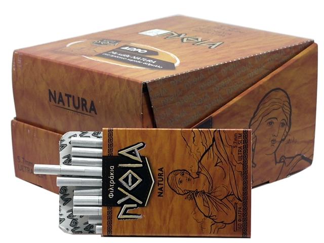 7709 - Κουτί με 24 φιλτράκια Πυθία NATURA EXTRA SLIM 5.7mm 60 & Χαρτάκια Πυθία πράσινα δώρο