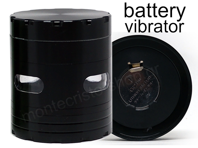 7753 - Τρίφτης καπνού CONEY Vibra Grinder Ø63 Black με δόνηση μεταλλικός (4 parts) 0212382