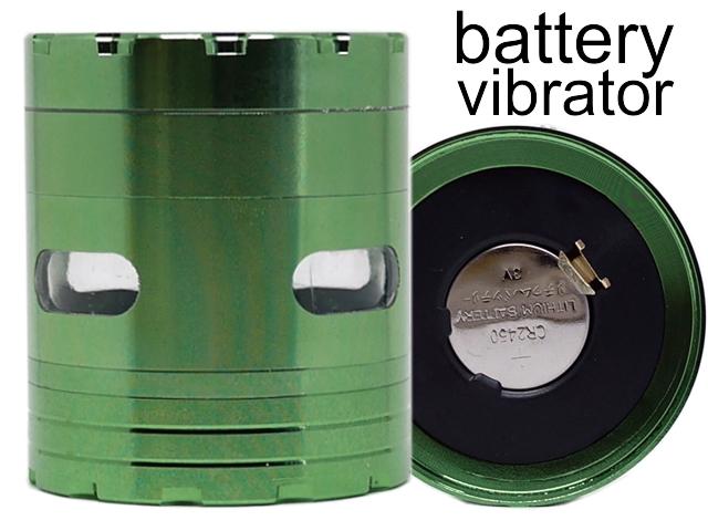 7756 - Τρίφτης καπνού CONEY Vibra Grinder 63mm Green με δόνηση μεταλλικός (4 parts) 0212383