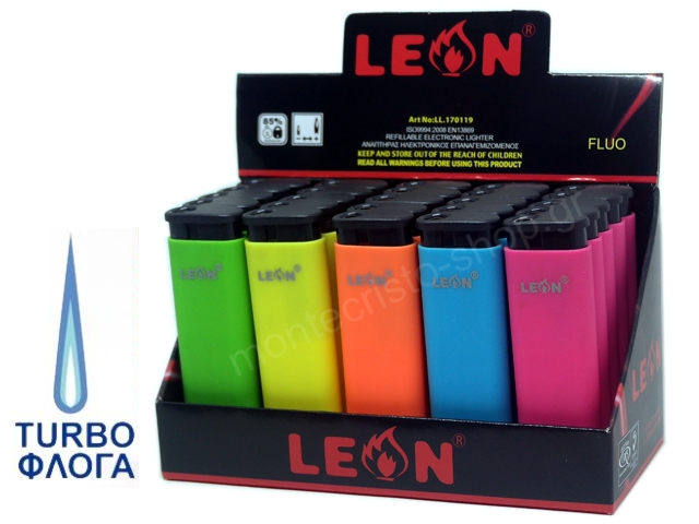 LEON WINDPROOF LIGHTER FLUO COLOURS 170119 (κουτί με 25 αναπτήρες)