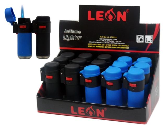 8158 - LEON BARREL LIGHTER JETFLAME BLUE&BLACK 170225 (κουτί με 15 αναπτήρες)