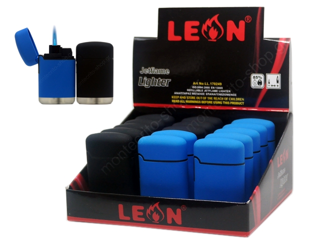 8168 - LEON COBBLE JETFLAME LIGHTER BLUE&BLACK 170249 (κουτί με 15 αναπτήρες)