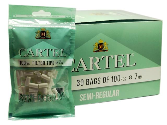 8371 - Κουτί με 30 φιλτράκια Cartel Semi Regular 7mm με 100 φίλτρα το σακουλάκι