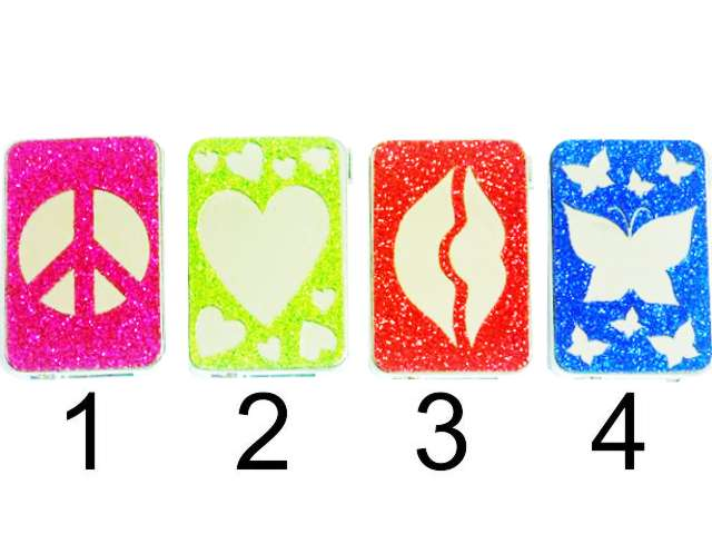 2245 - Colton Electronic Lighter Mirror Softflame Refillable Glitter
