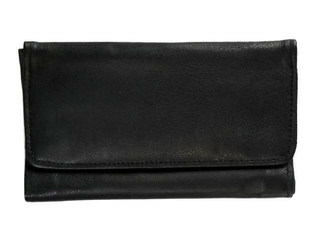 Καπνοσακούλα Rolling από γνήσιο δέρμα μαύρη μεγάλη απλή διπλό άνοιγμα