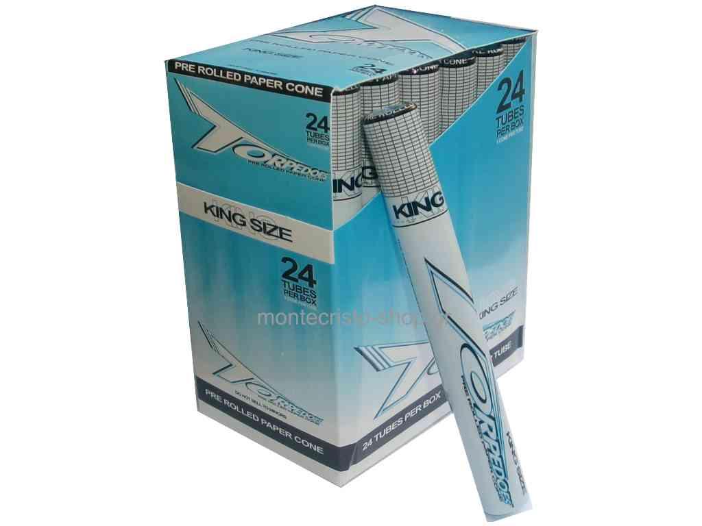 1819 - Κουτί με 24 κώνους TORPEDOES pre rolled paper cone king size από ρυζόχαρτο και τζιβάνα