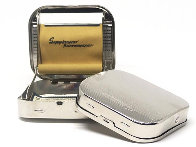9609 - Μηχανή στριφτού του παππού 47302-010 ταμπακιέρα ασημί μεταλλική 6 & 8mm