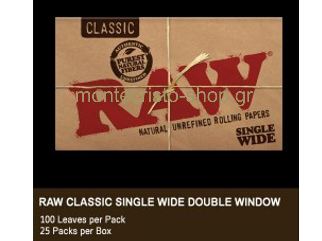 654 - Χαρτάκι μικρό RAW Single Wide Clasic Ακατέργστο Διπλό 100 φύλλων