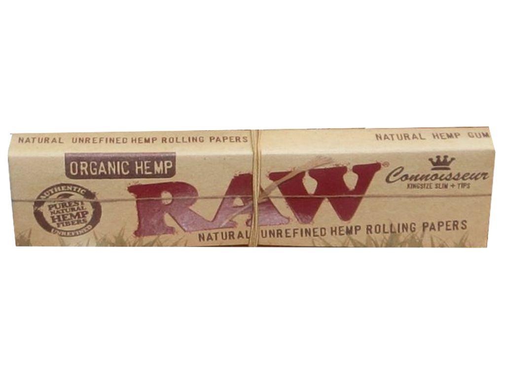 659 - Χαρτάκια RAW KING SIZE Organic Hemp SLIM συν TIPS με Τζιβάνες Κάνναβη 32 φύλλα
