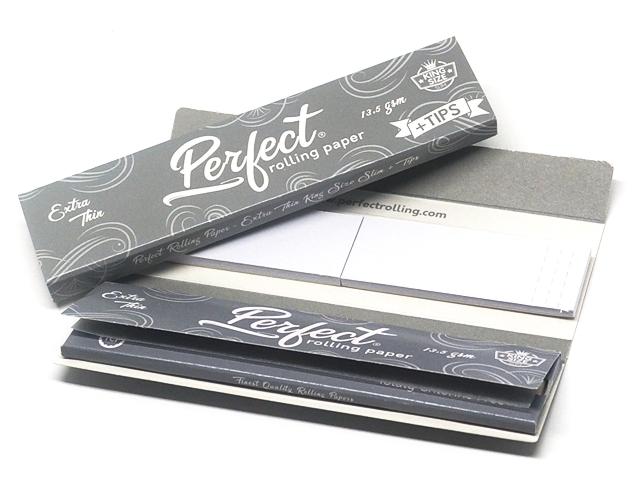 9713 - Χαρτάκια στριφτού Perfect King Size Ασημί Extra Thin με Τζιβάνες