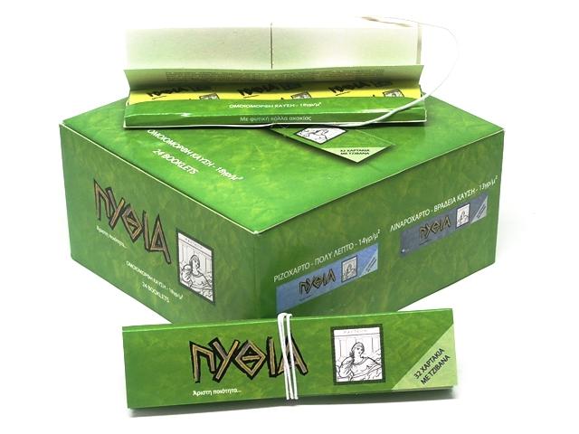 9764 - Κουτί με 24 Χαρτάκια στριφτού Πυθία Pithia Πράσινα King Size με τζιβάνες