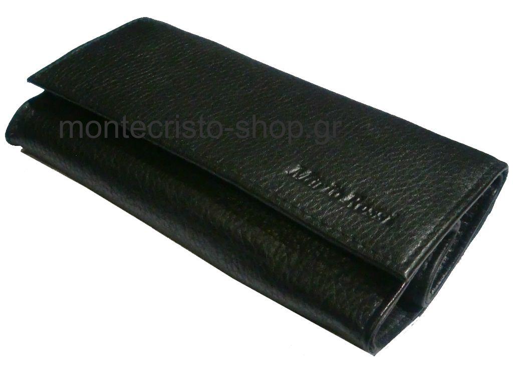 1014 - Καπνοσακούλα Mario Rossi απο γνήσιο δέρμα μαύρη μεγάλη με Latex 827-06 BK BLACK δερμάτινη καπνοθήκη