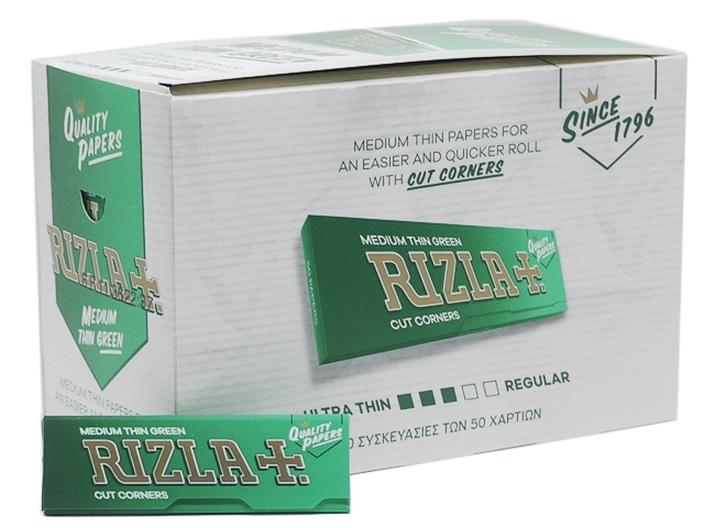 597 - Χαρτάκια Rizla Πράσινα κουτί 100 τεμαχίων 50 φύλλων τιμή