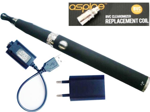 958 - Ηλεκτρονικό Τσιγάρο με Aspire BVC ατσάλινο black clearomizer, μπαταρία EOS EO-MAX TWIST 1300 mA και φορτιστές