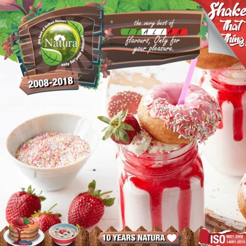 9967 - NATURA SHAKE AND TASTE STRAWBERRY MILF SHAKE 60/100ml (μιλκσεικ φράουλα)