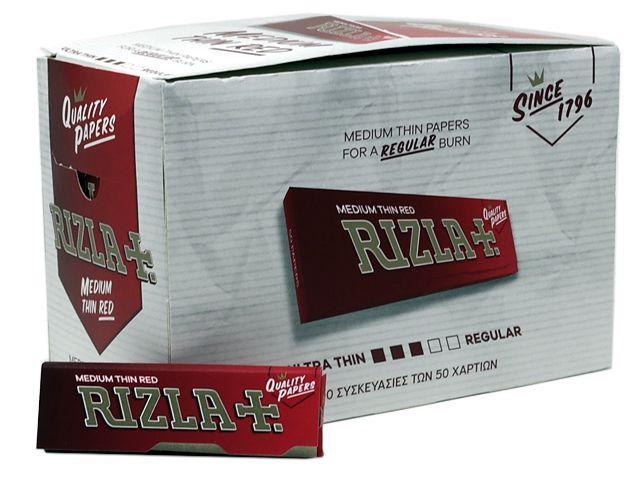 Χαρτάκι στριφτού RIZLA red κόκκινο, κουτί των 100 τεμαχίων