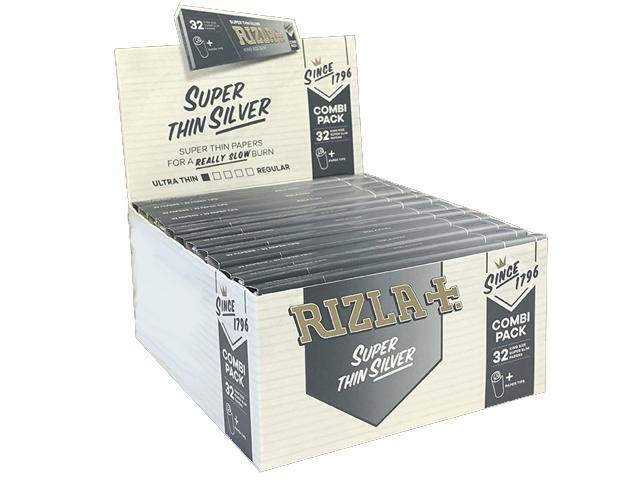 Χαρτάκια στριφτού RIZLA SILVER King Size 32 με τζιβάνες κουτί 24 τεμαχίων